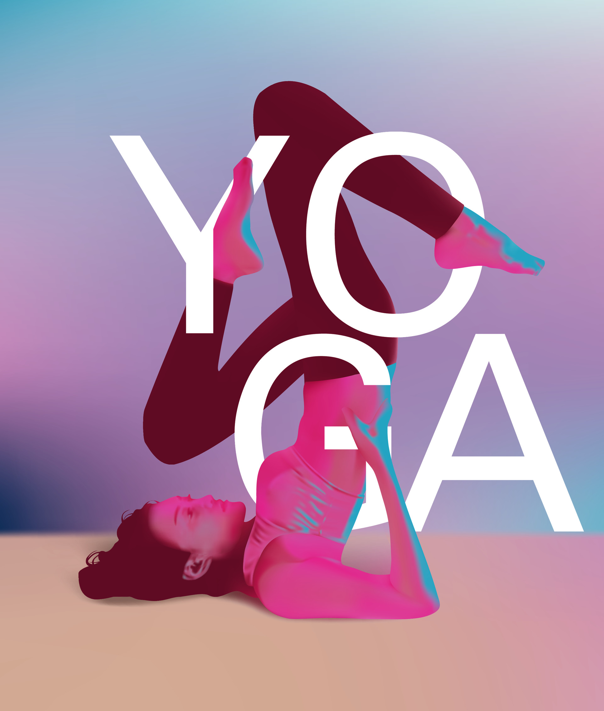 Illus man - Portrait of pretty young woman yoga style