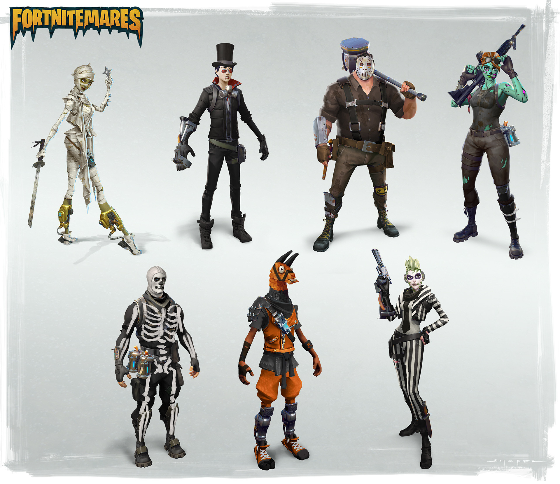 Halloween skin concepts for Save the World and a couple of them were in Battle Royale as well.