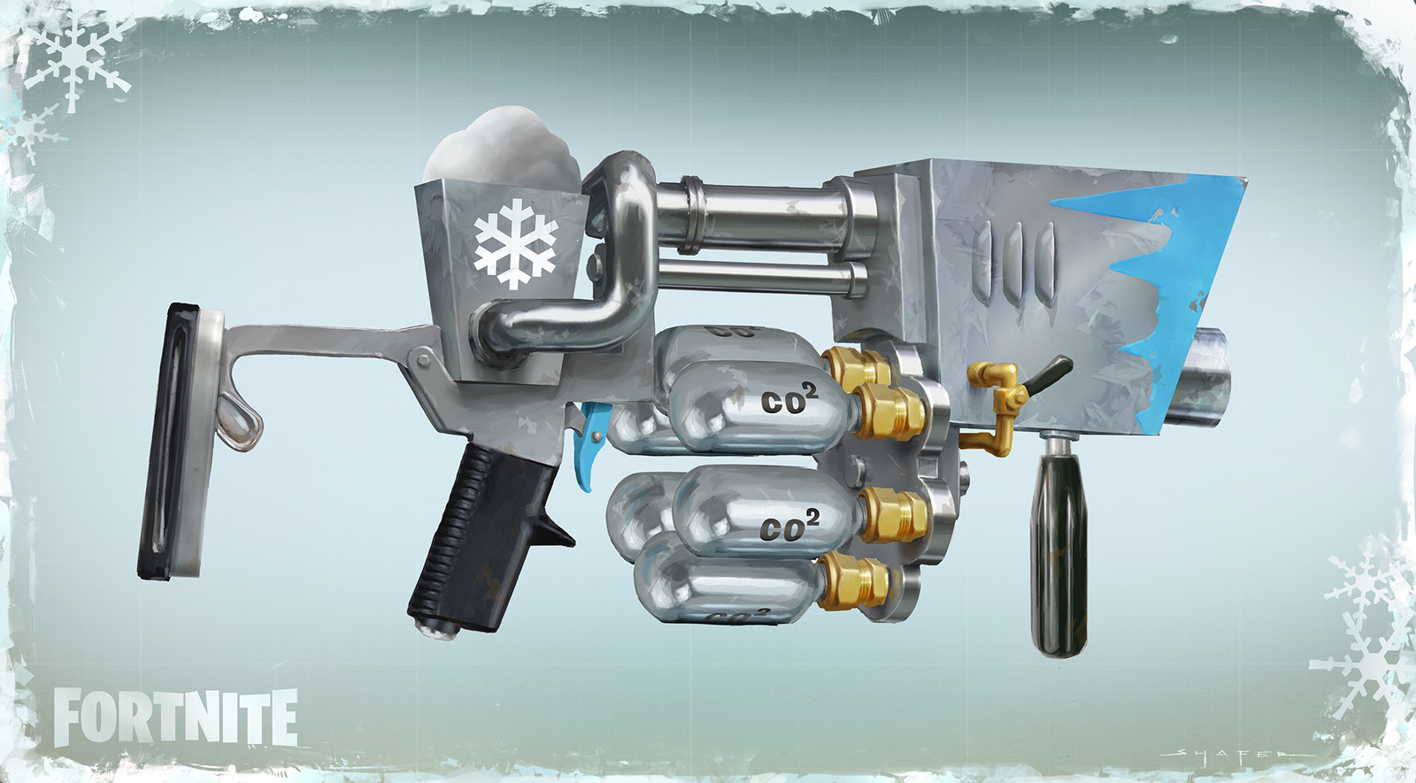 Concept for the Snowball Launcher that temporarily replaced the standard grenade launcher in BR during the Winter Event.