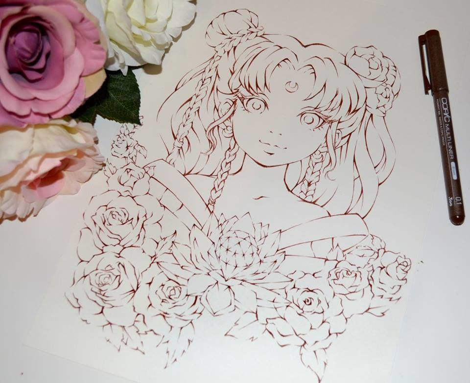 - Lighane's Artblog - Floral Sailor Moon / Coloring Book Project / Copic  Marker