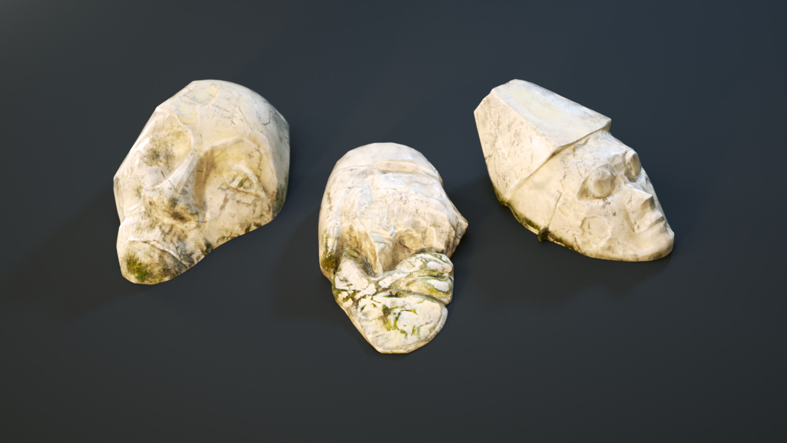 Ancient marble faces. Side decorations on the map.