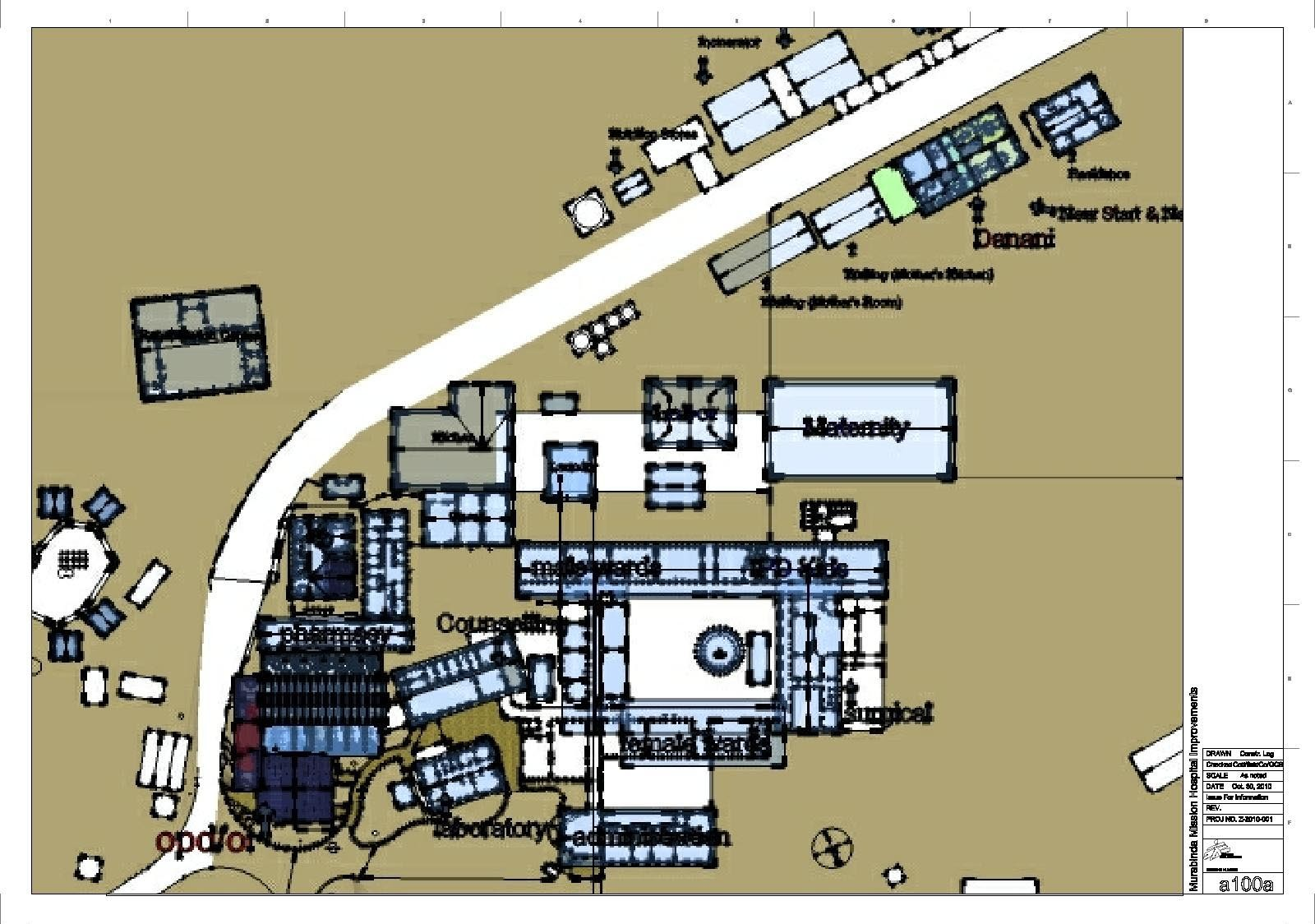 Overall plan of hospital compounds.  Yes, I measured and drew the whole thing by myself with a tape measure.