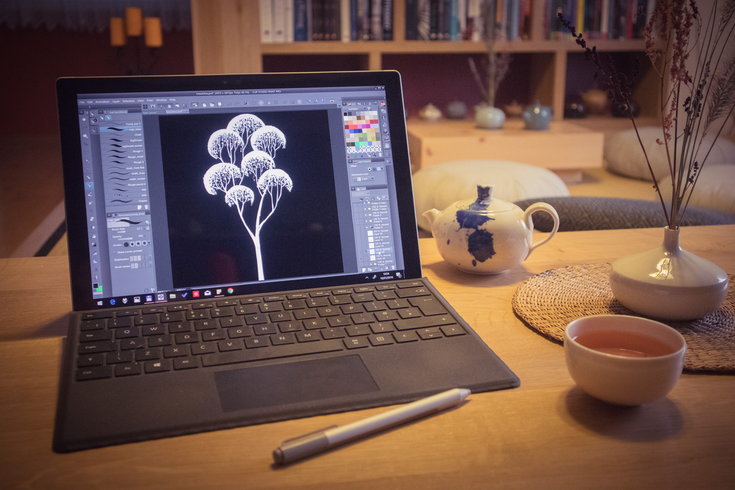 drawing trees in Clip Studio Paint and drinking tea :)