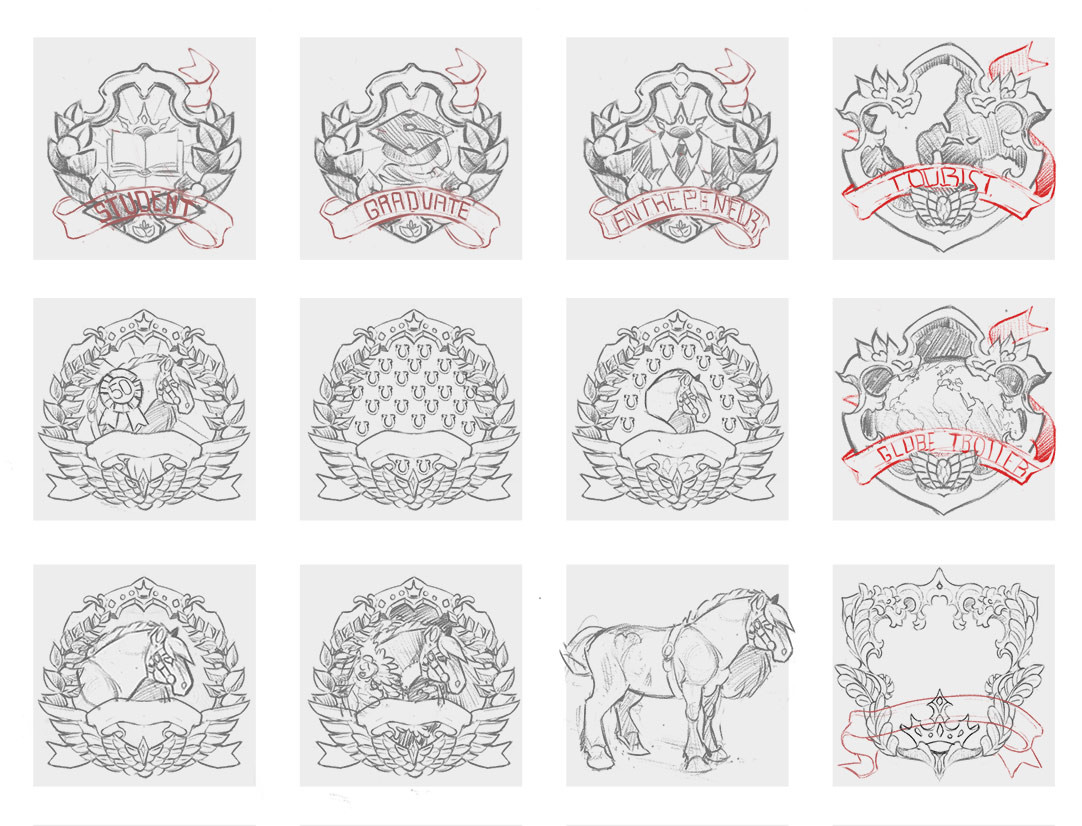 Badge Designs, first sketches.