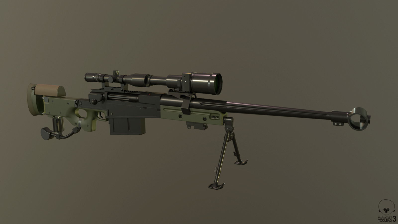 AM 50 / L121A1 with Schmidt & Bender 3-12x50 PM II Scope, front mount with Hensoldt NV80 night vision scope.  High Poly - Left Side.