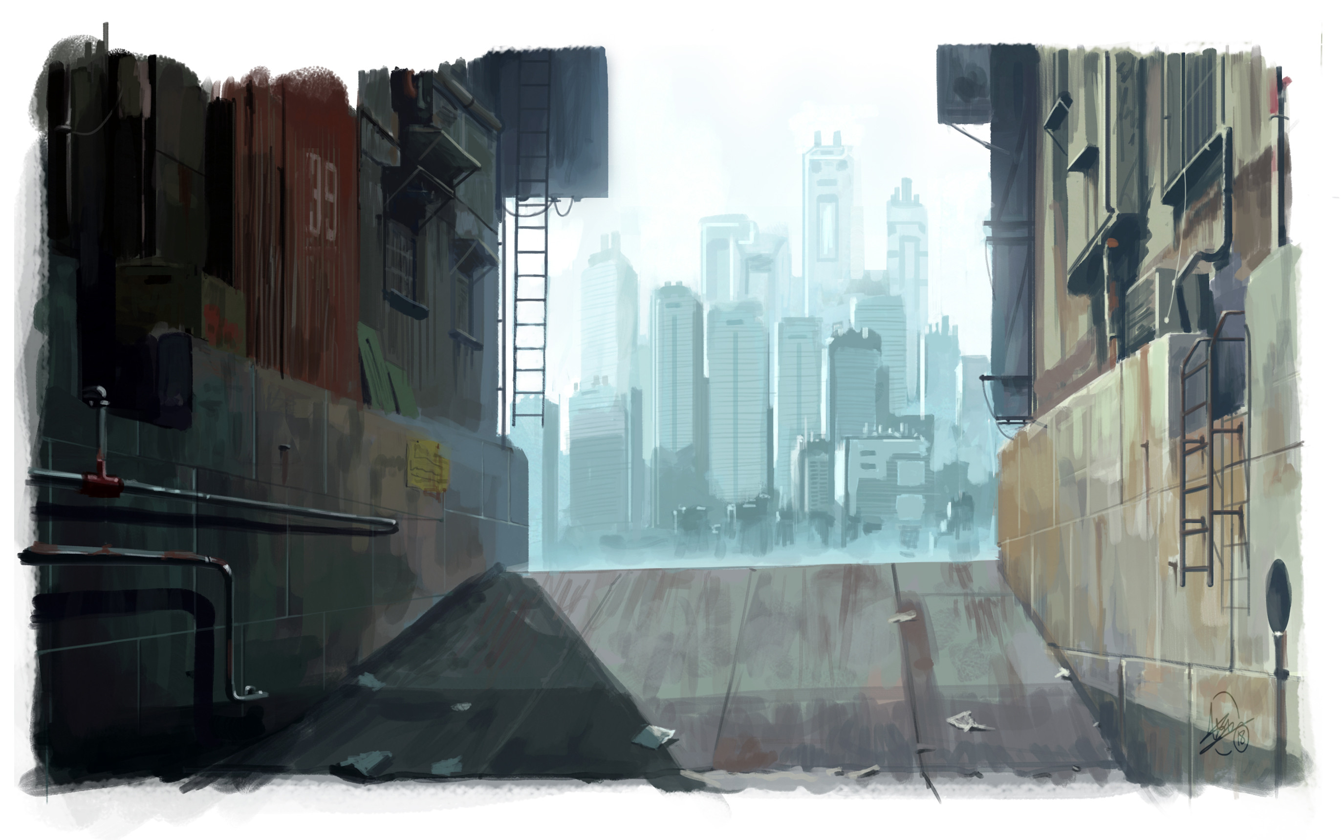 Artstation Ghost In The Shell Background Study Alex Campbell