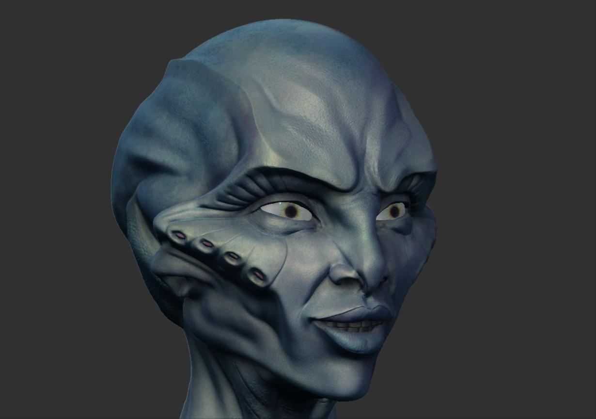 Tolu abisola alien head4 zbrush colour