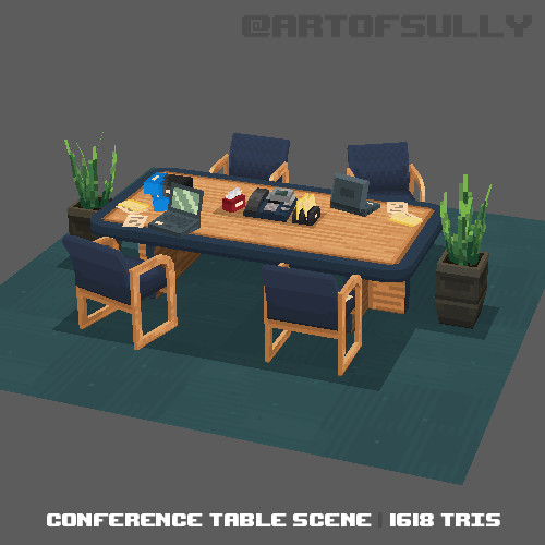 3D Pixel-Art Conference Table (Commission)