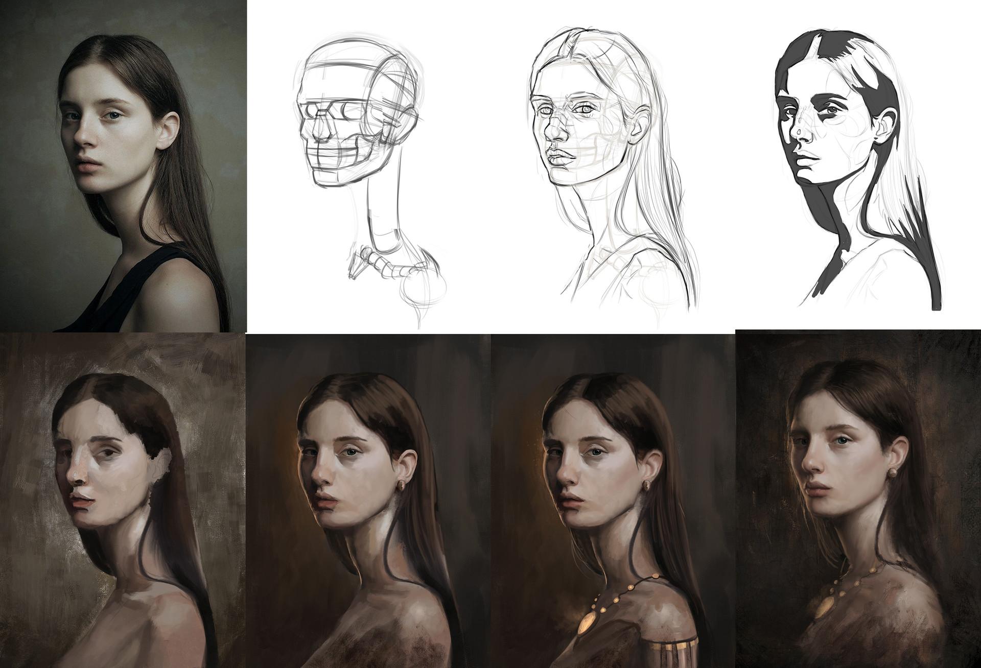 Dennis van kessel portrait study wips