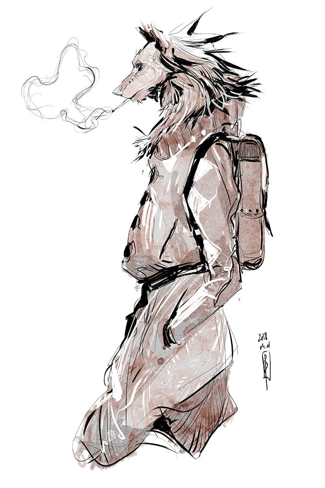Slender werewolf heading to work
