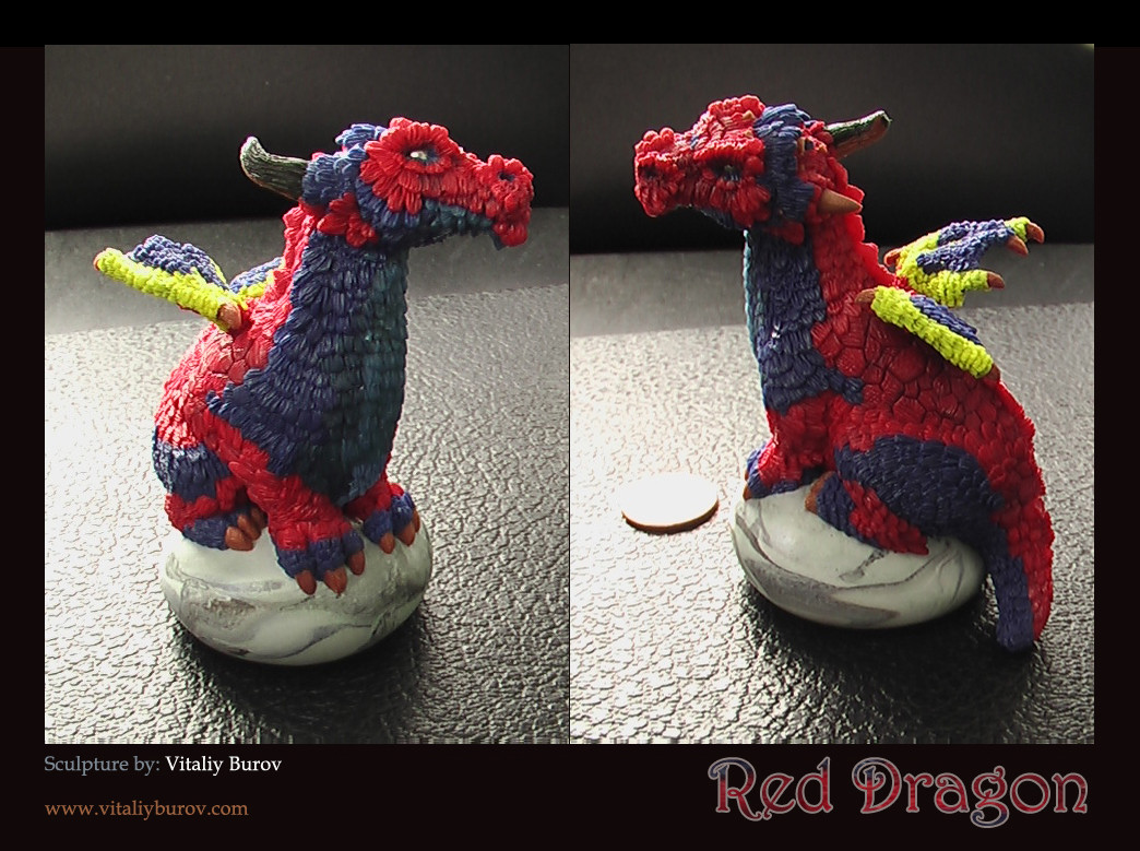 """Red Dragod"" - The figurine is made from self adhesive Plasticine"