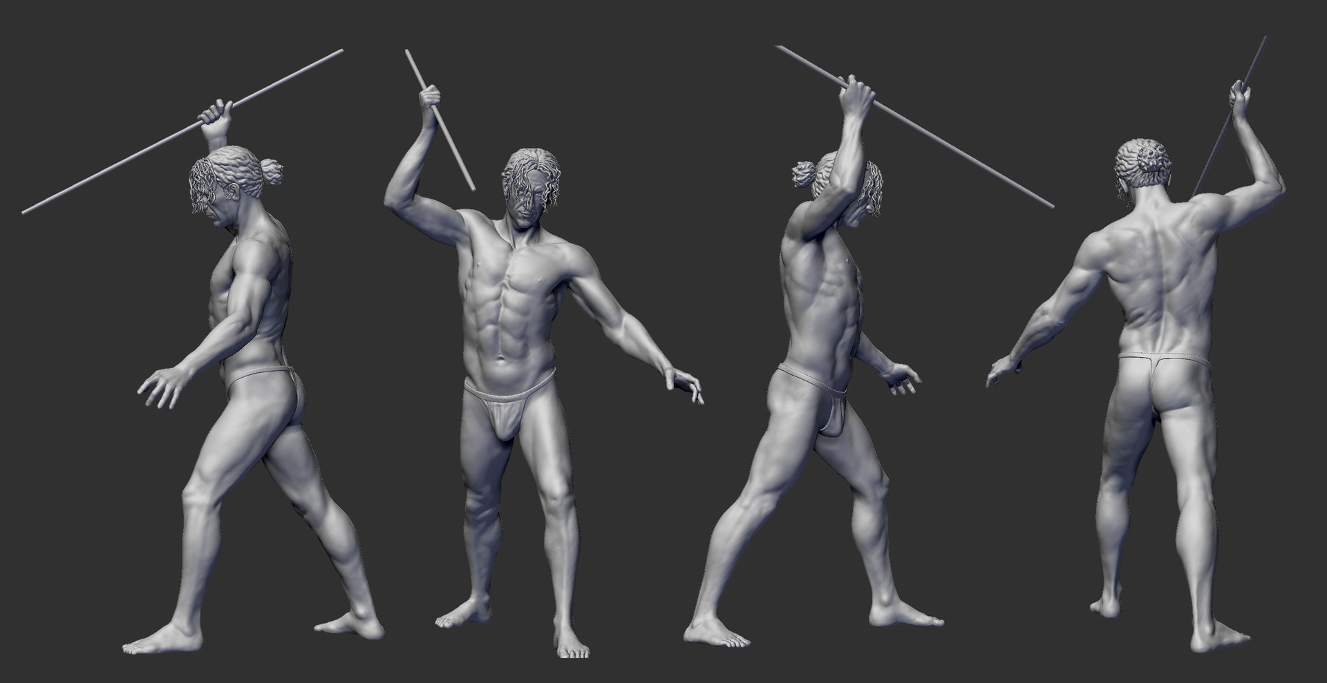 Kalle Wirn Full Figure Anatomy Study Man Holding Stick