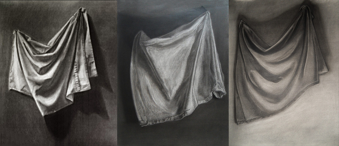 """Drapery"" - three different techniques to draw with charcoal. There are 3 different materials (thick / thin cotton and silk) and different light setup"