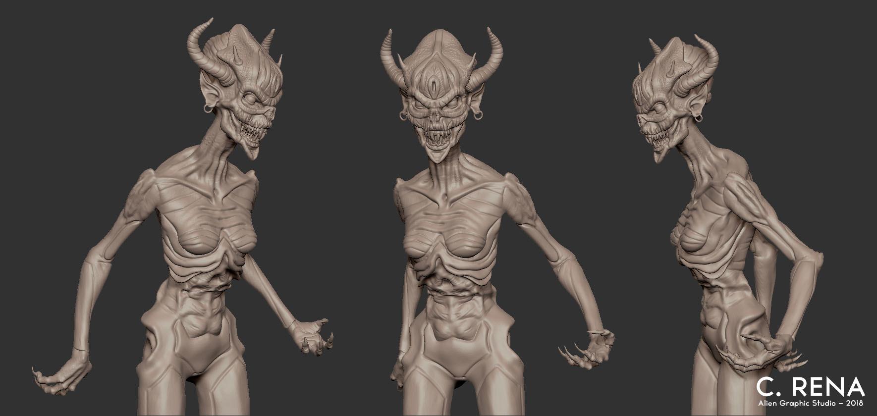 Chris rena female demon model sheet