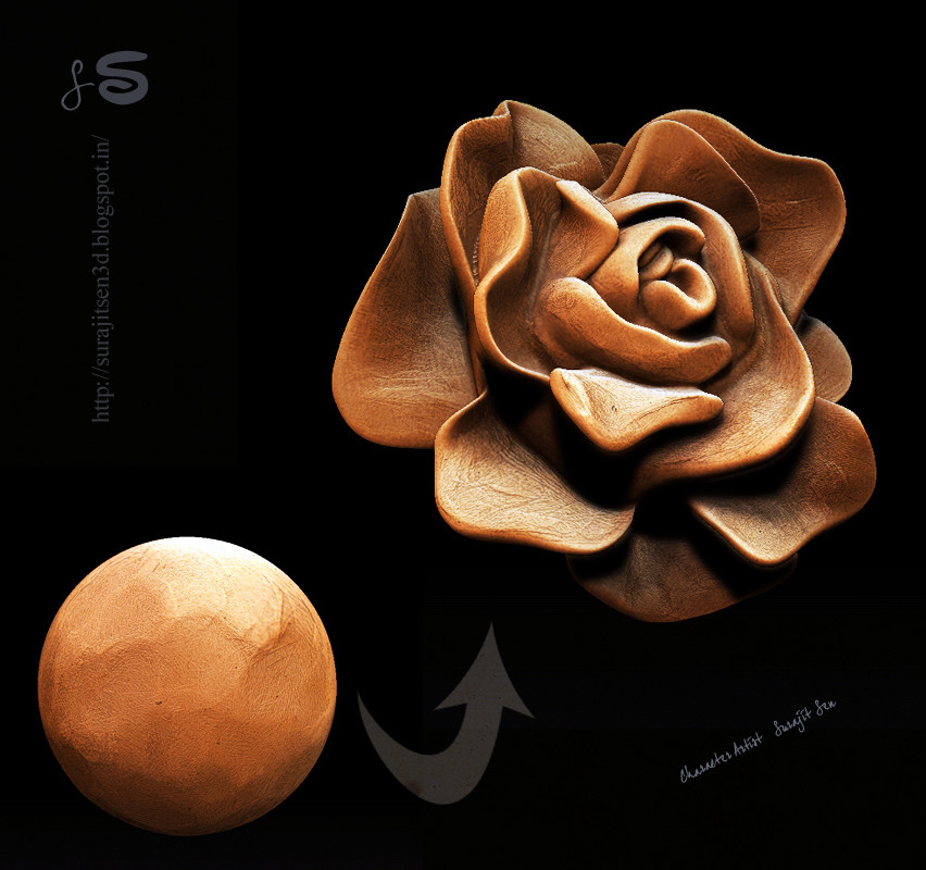 Surajit sen clay sculpt rose surajitsen