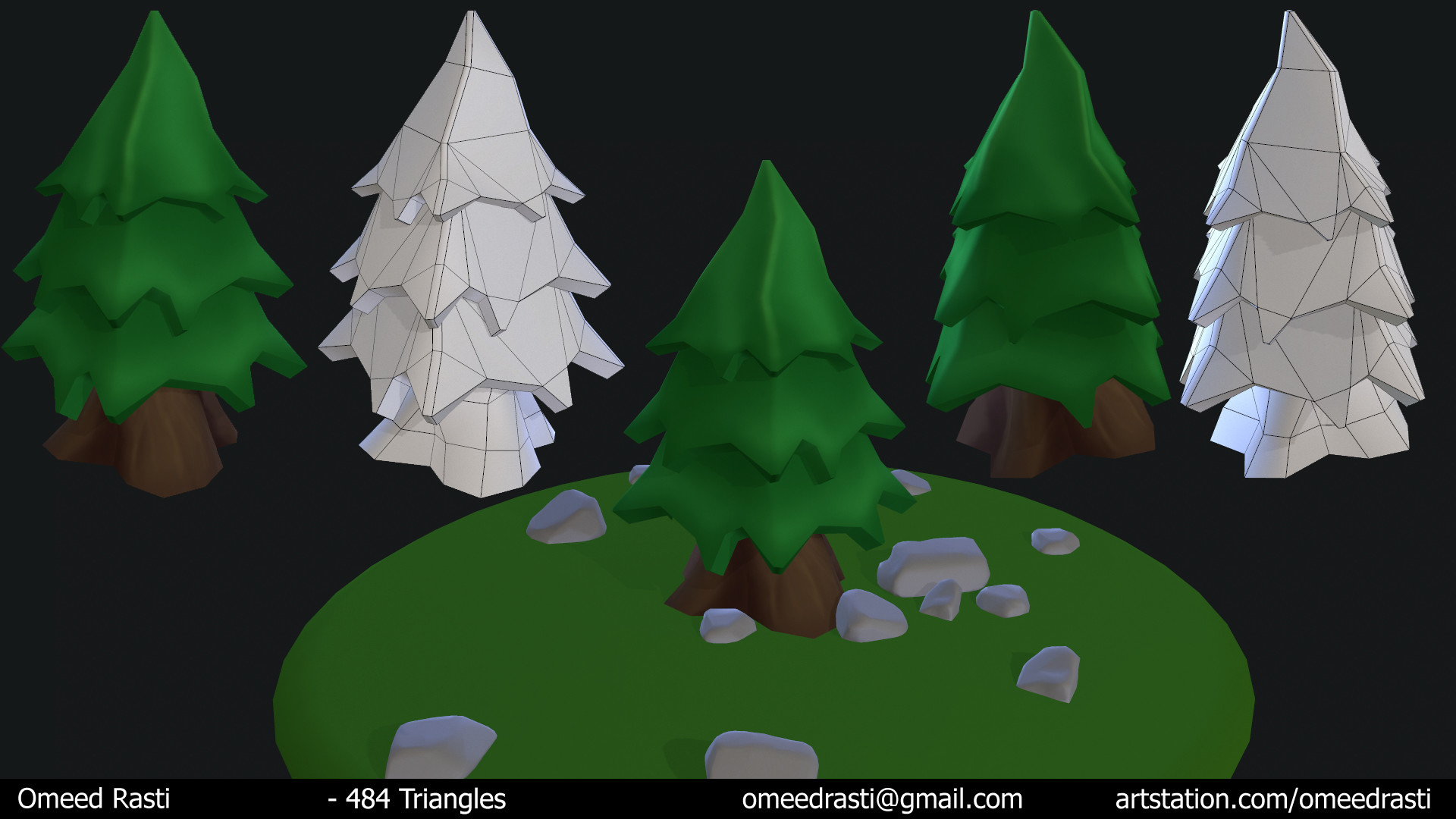 modeling done in maya texturing done with photoshop - Polytree Christmas Tree