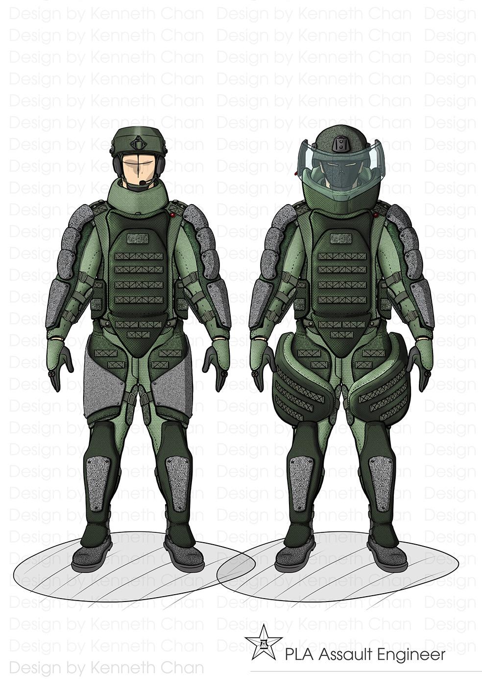 PLA Assault Engineers EOD Gear  (Left) Standard Version Gear (Right)Full Armor Version Gear(Heavy Assault Shield Soldiers)