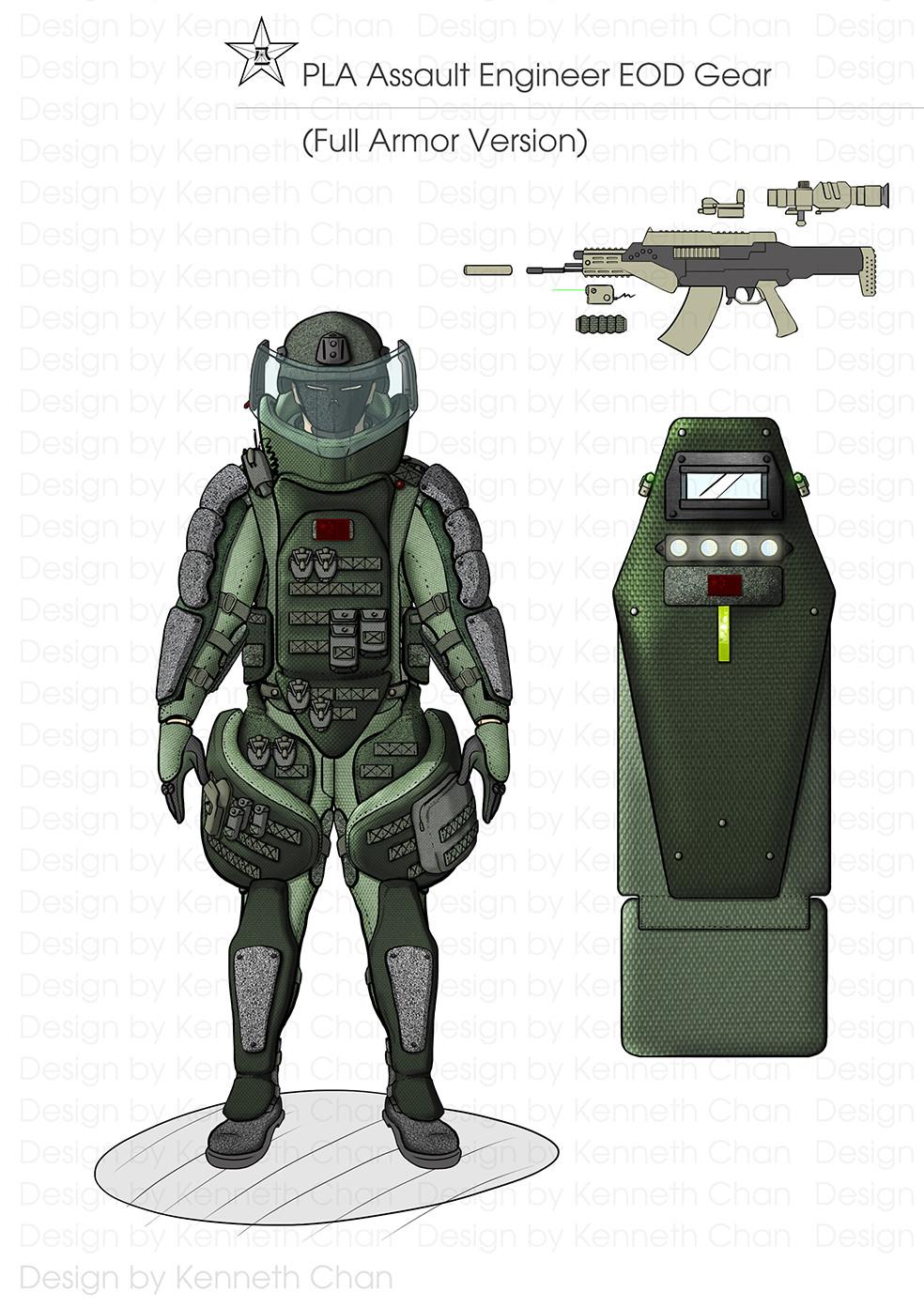 PLA Assault Engineers EOD Gear  Full Armor Version Gear(Heavy Assault Shield Soldiers) (Heavy Assault Shield & QBZ11 OICW)