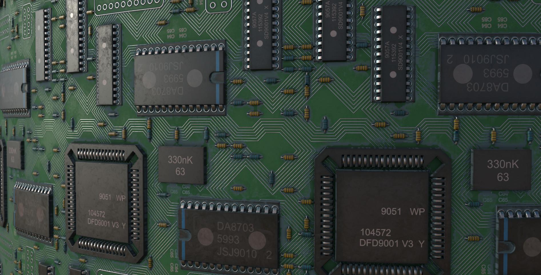 ArtStation - circuit board, Monster Vka