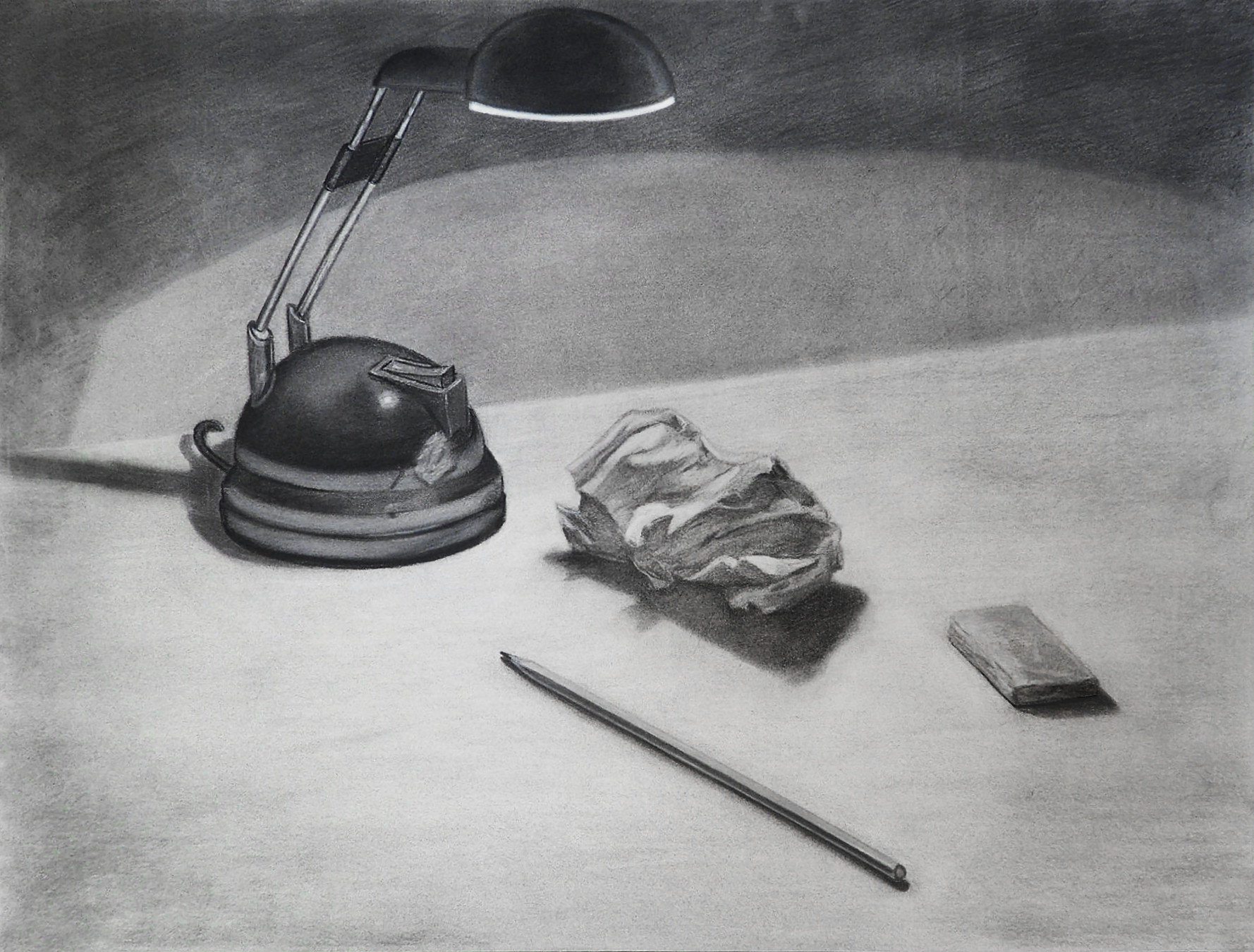 """Moon Light"" - Still life drawn with black pencil and charcoal, 49.5cm X 63.5cm"
