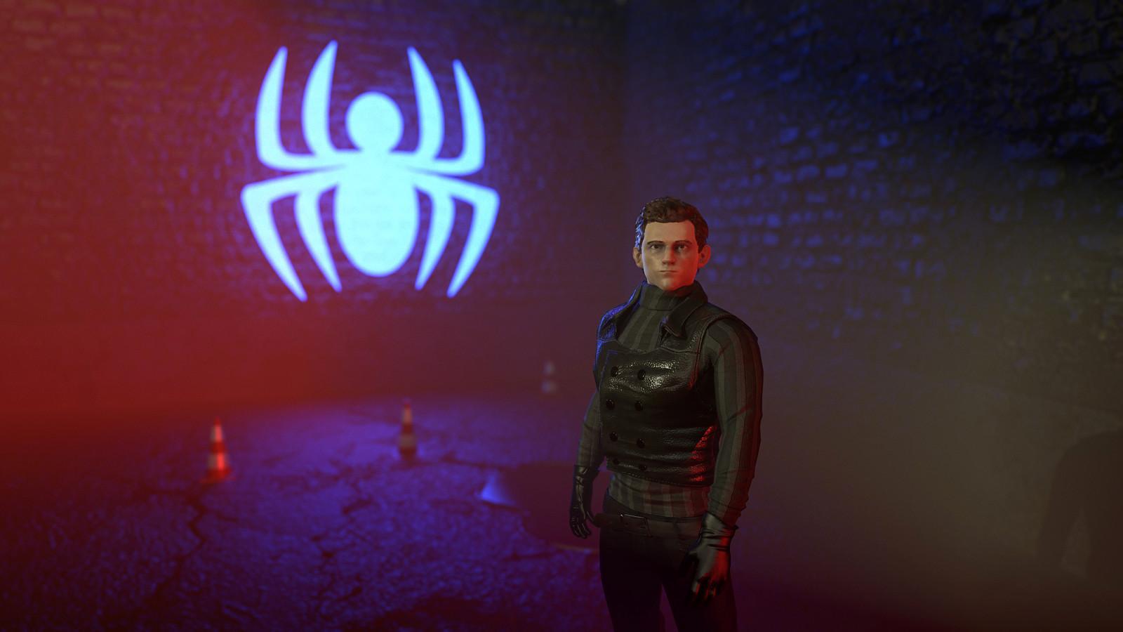Tom Holland - SpiderMan Noir Costume