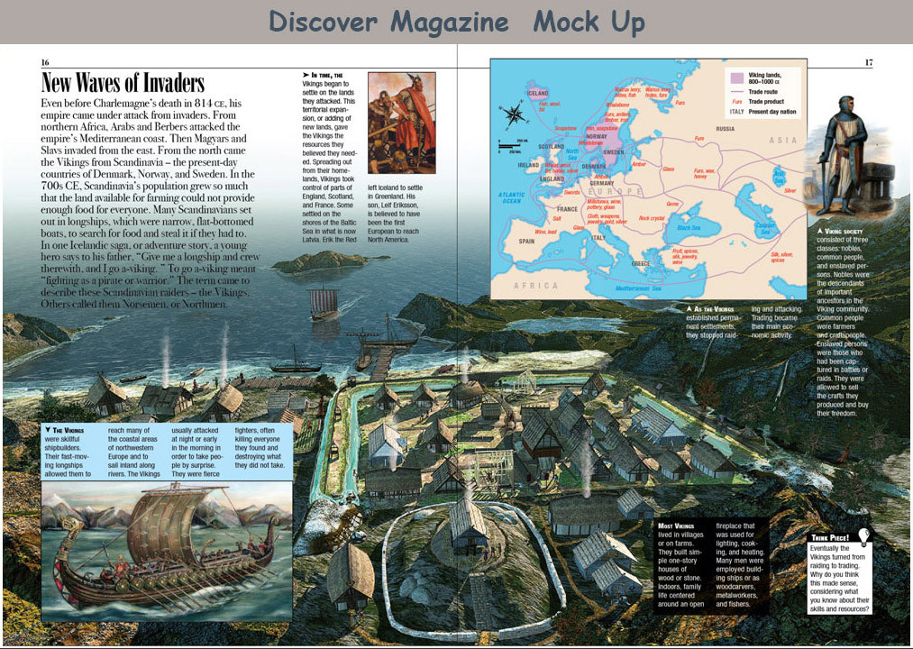 Discover Magazine mock up spread.