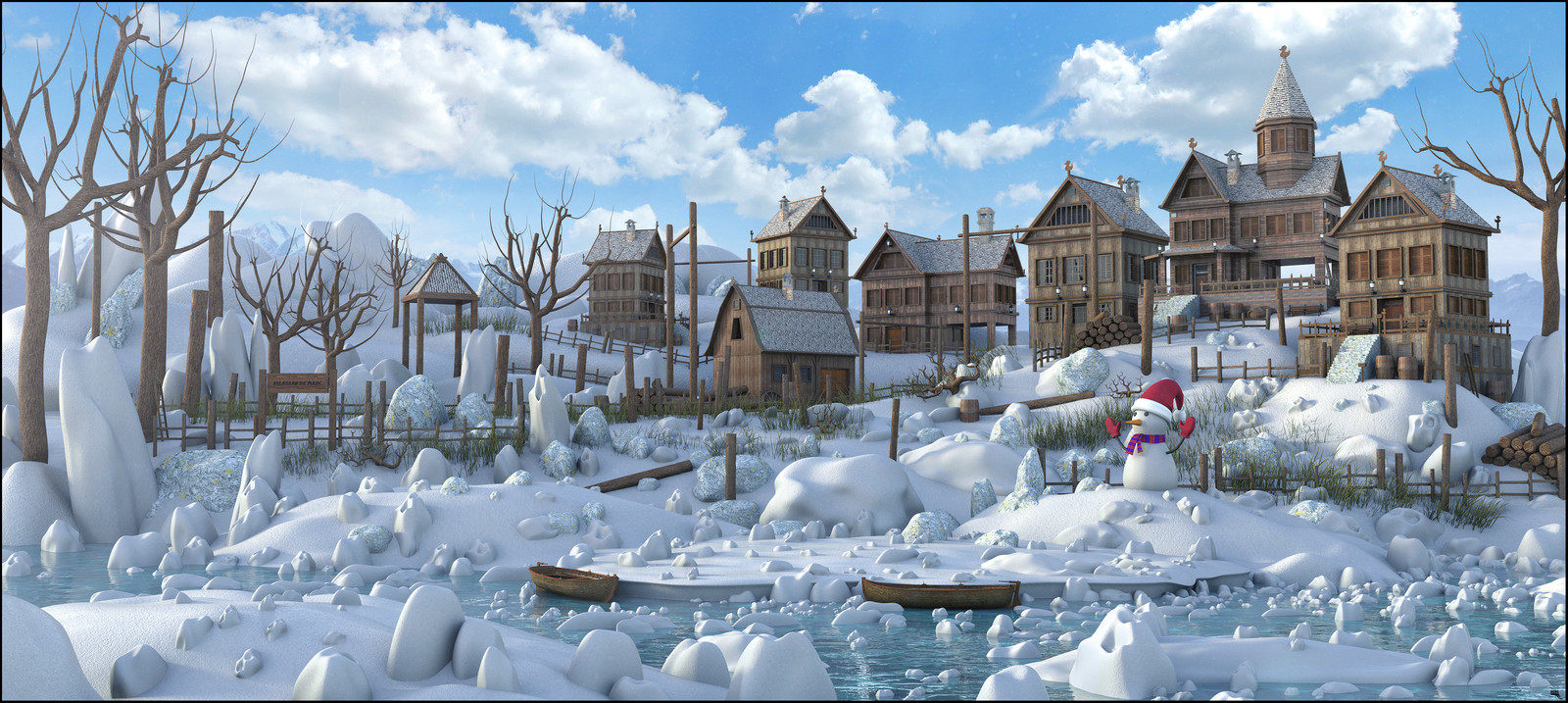 Snow  Rustic Town Environment