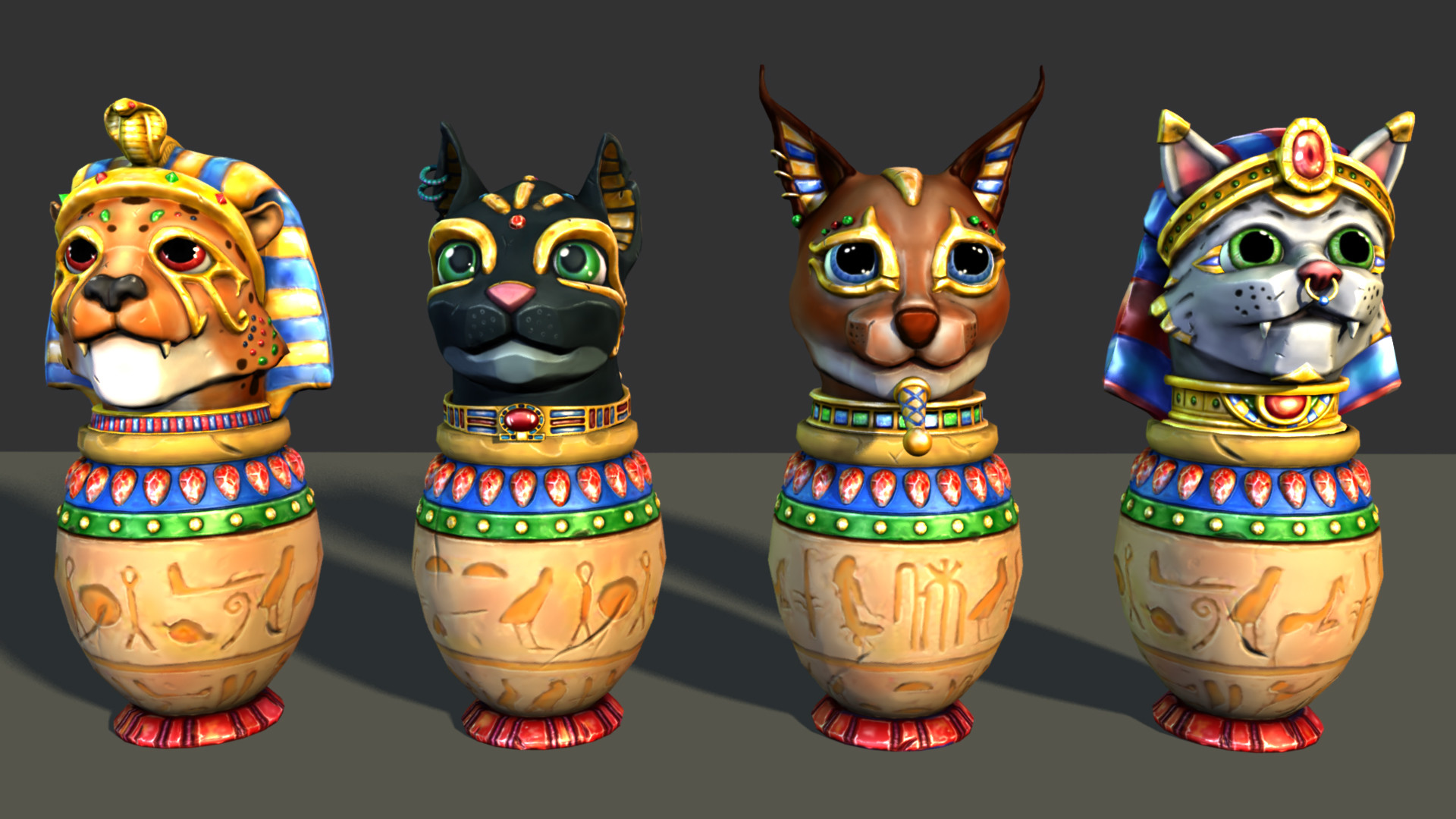 Four Canopic Jars with Unique Cat Heads