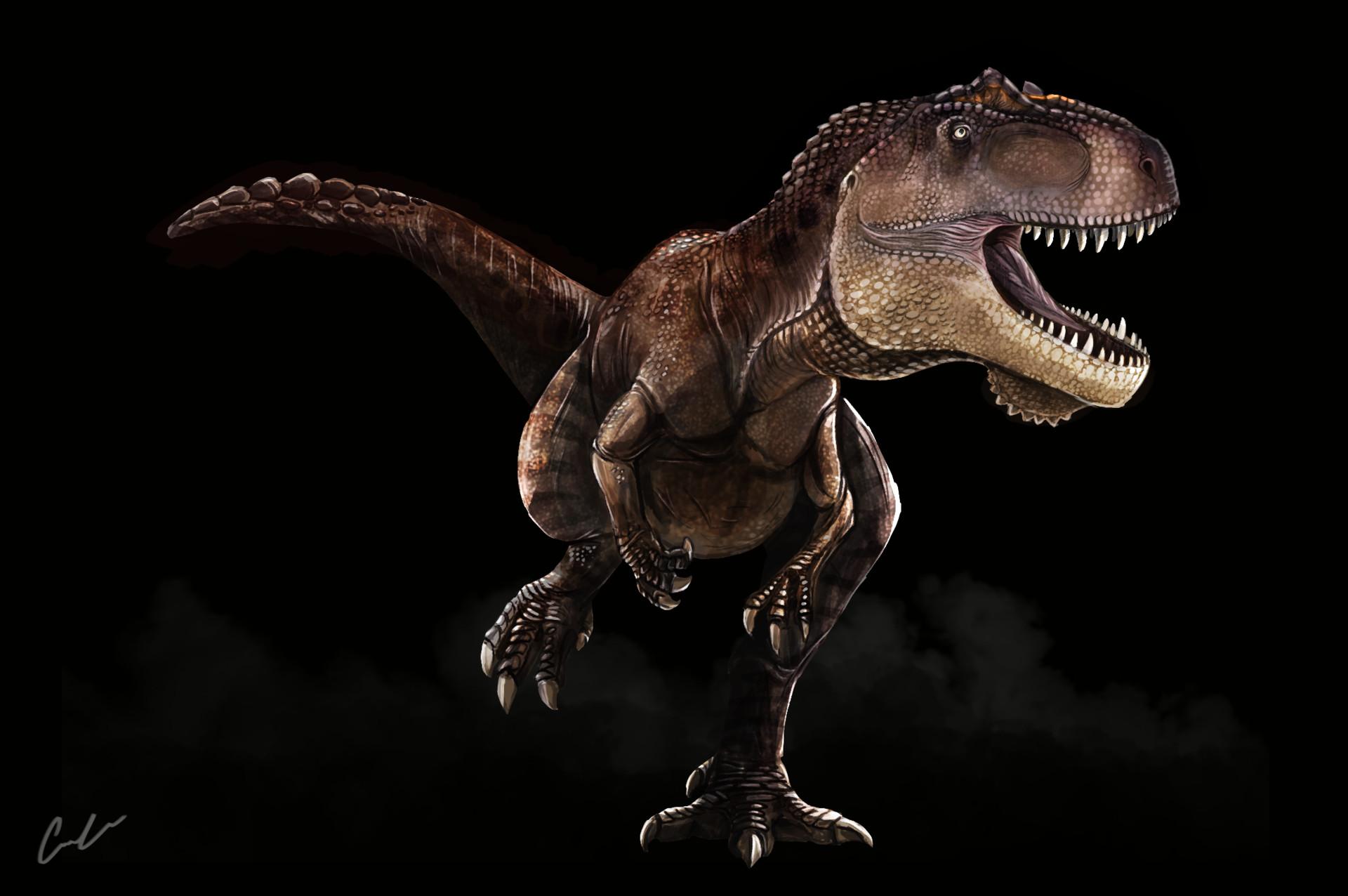 Cameron clow the isle giganotosaurus carolinii by triceratopsian daqkepp