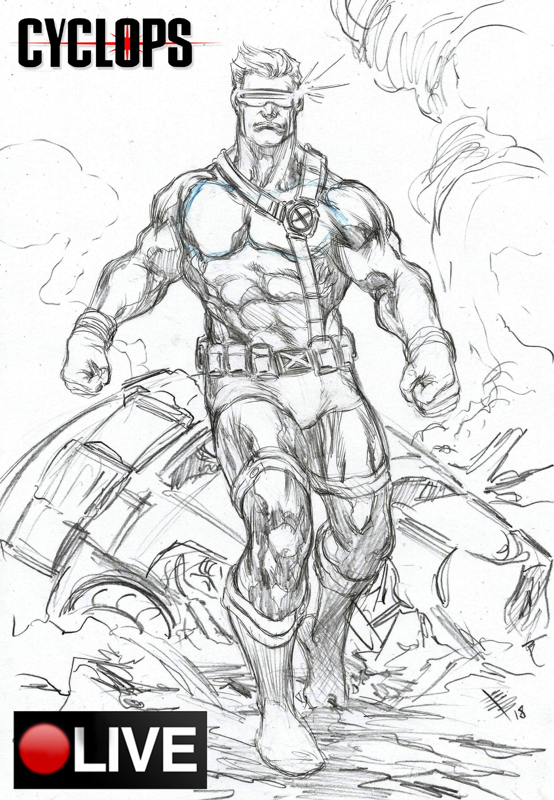 Cyclops x men pencil sketch