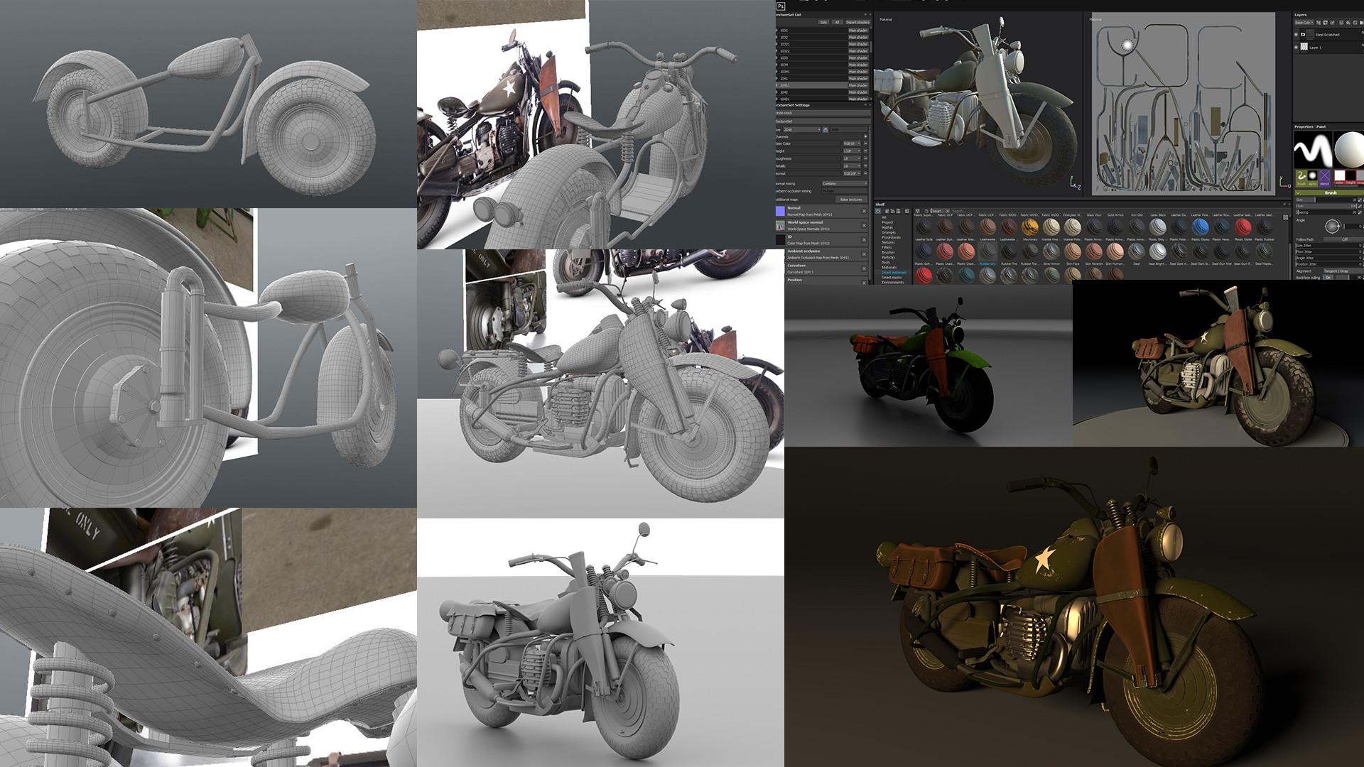 ArtStation - Harley Davidson 750cc XA Military Motorcycle