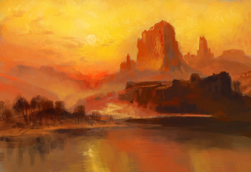 Study of a landscape painting by Thomas Moran