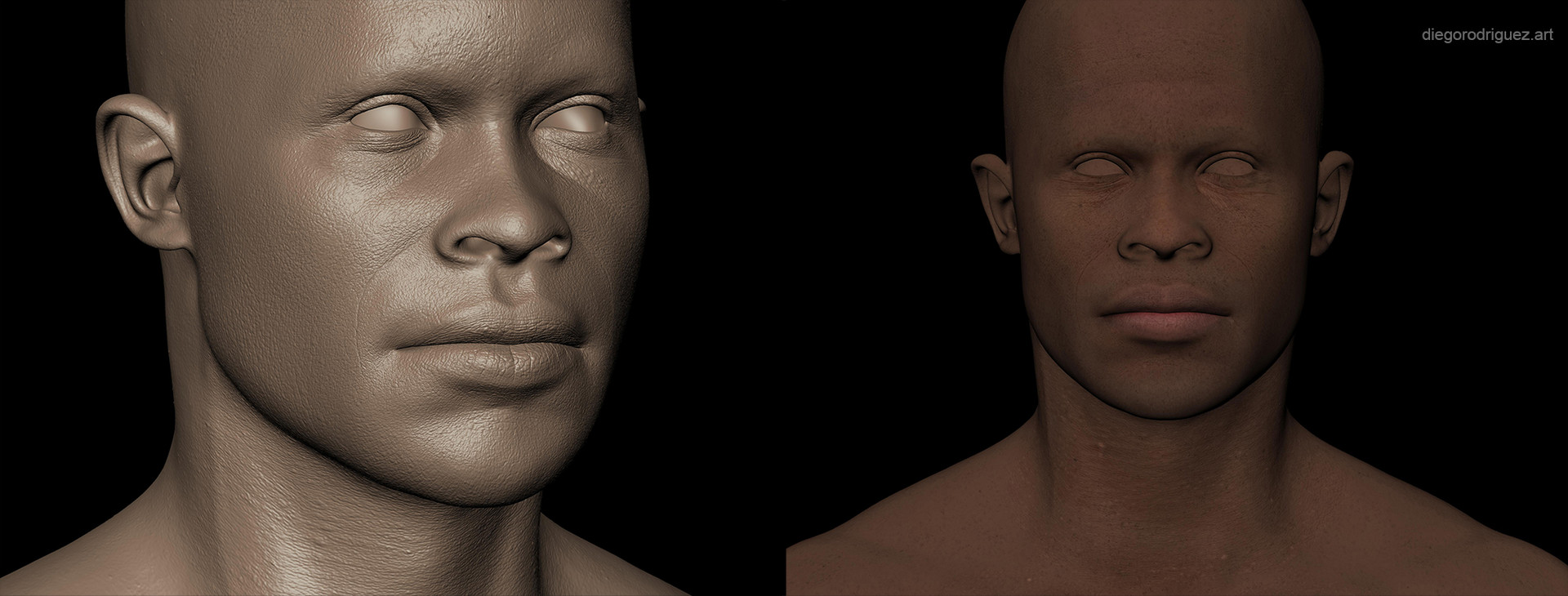 Skin textures created in Mudbox. I've used texturing xyz maps for the displacement information and a combination of cross polarized textures and hand painting for the base color.