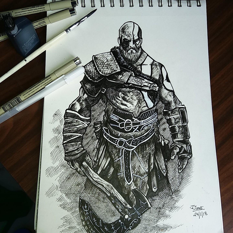 Janmejay Sharma God Of War 4 Kratos Ink Sketch Fanart
