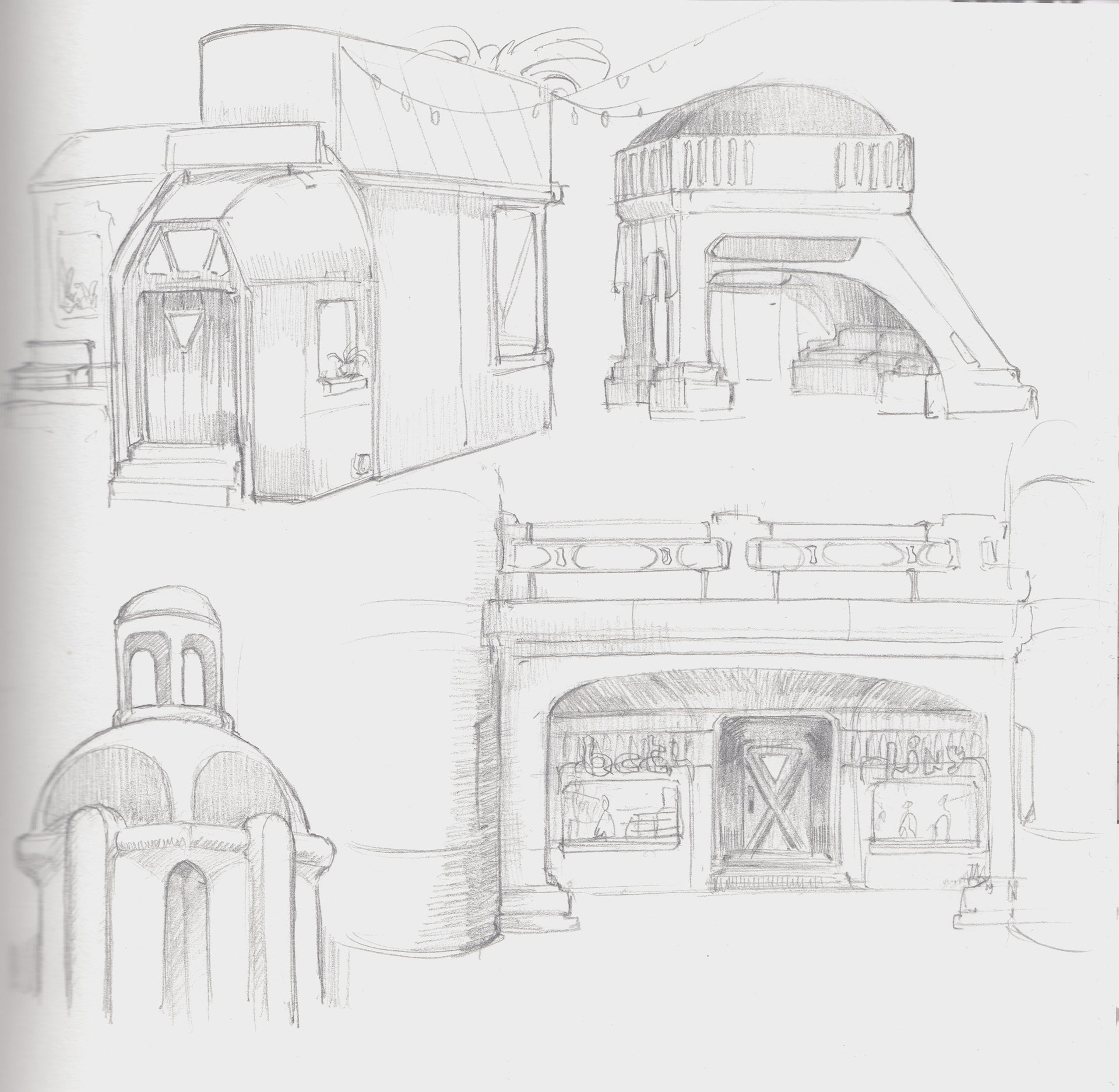 White town architecture sketches