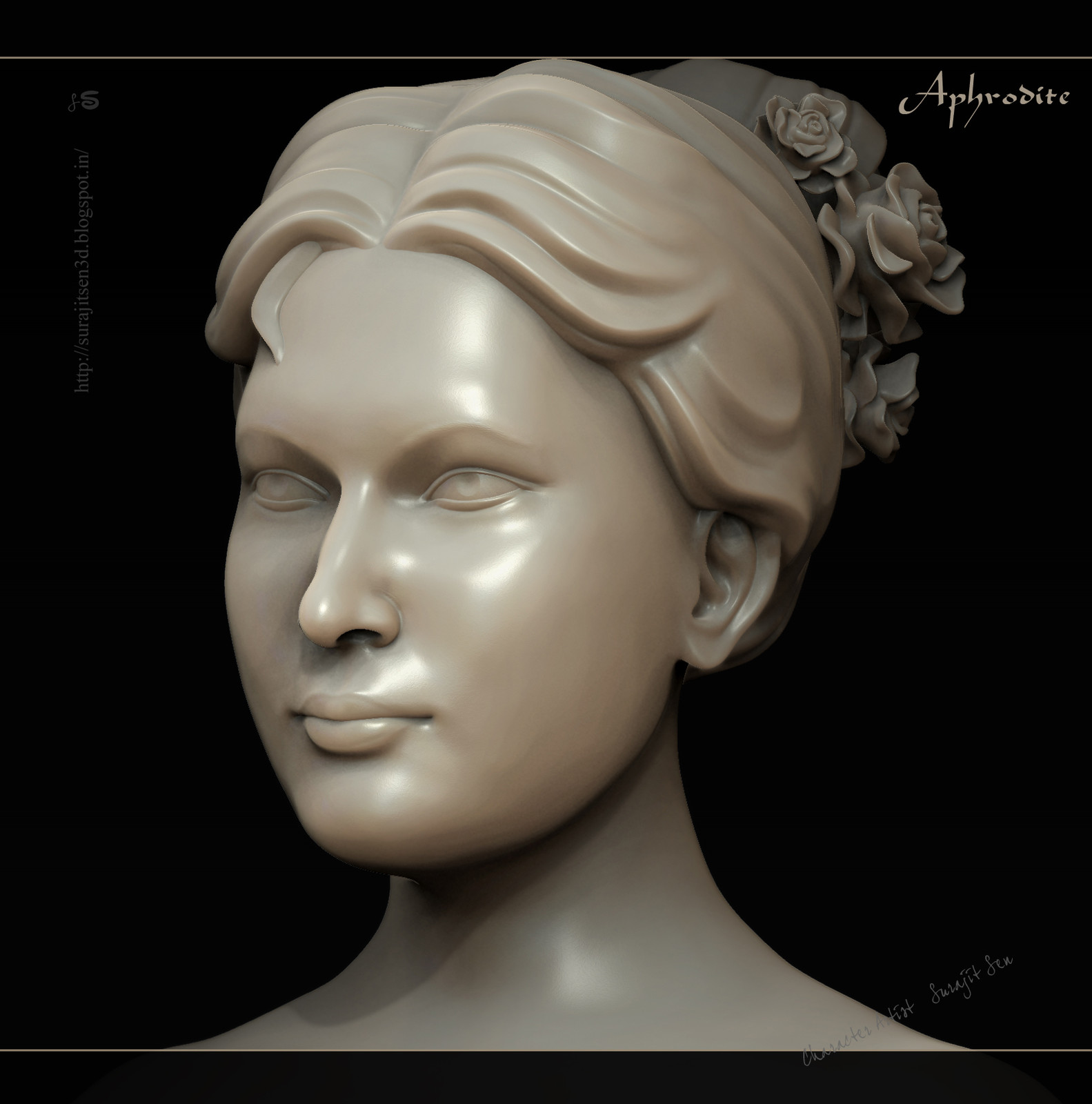 """My recent free time work ....Stone finish Female Sculpt.... """"Aphrodite - the mark of beauty"""". Wish to share  .....:)"""