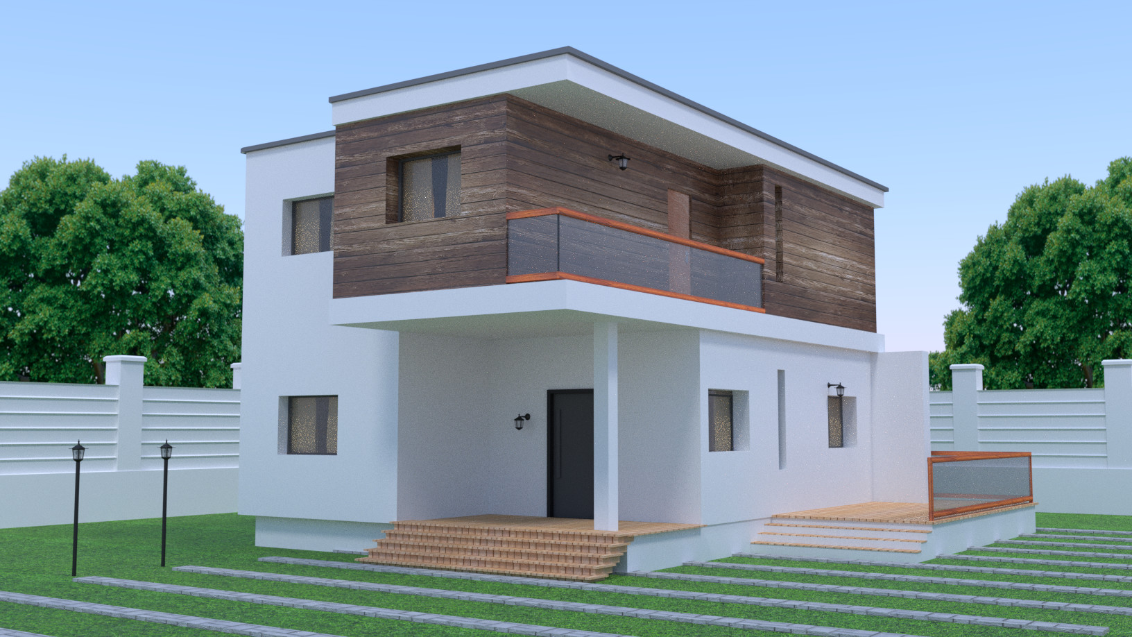 Modern house and wood walls