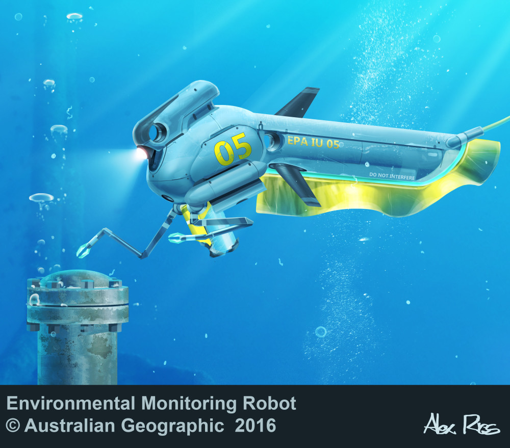 Ribbon-finned ROV able to inspect submarine industry and conduct environmental monitoring. Propulsion based on the knifefish