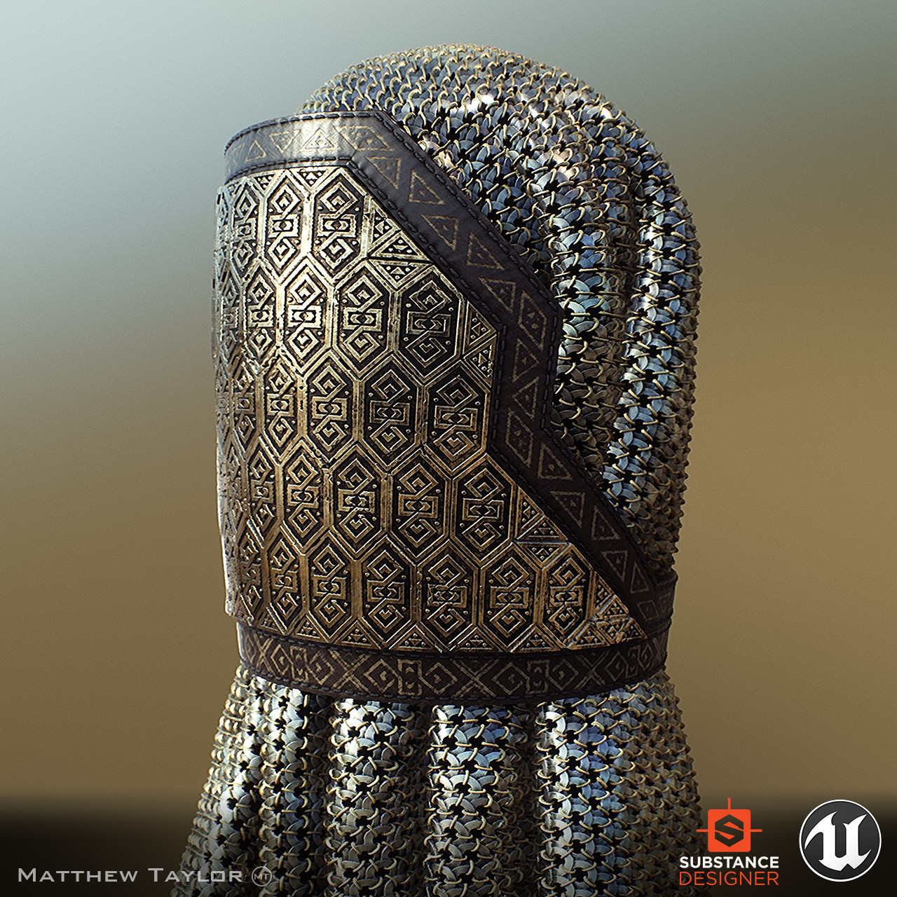 Gimli's shoulder guard and chainmail rendered in Unreal Engine 4.