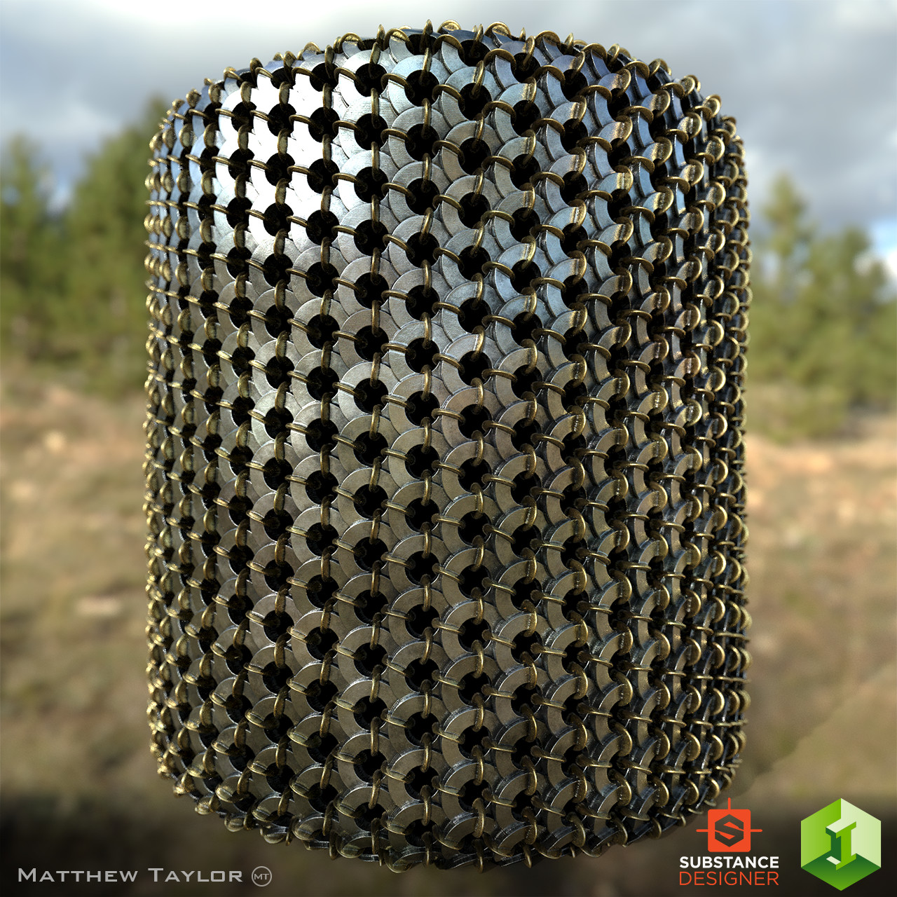 Chainmail material applied to a cylinder.