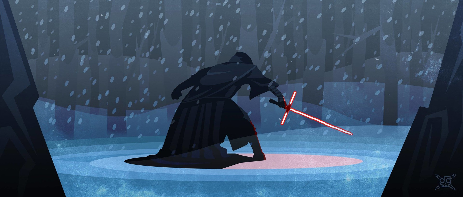 Kylo Ren in the forest vector illustration
