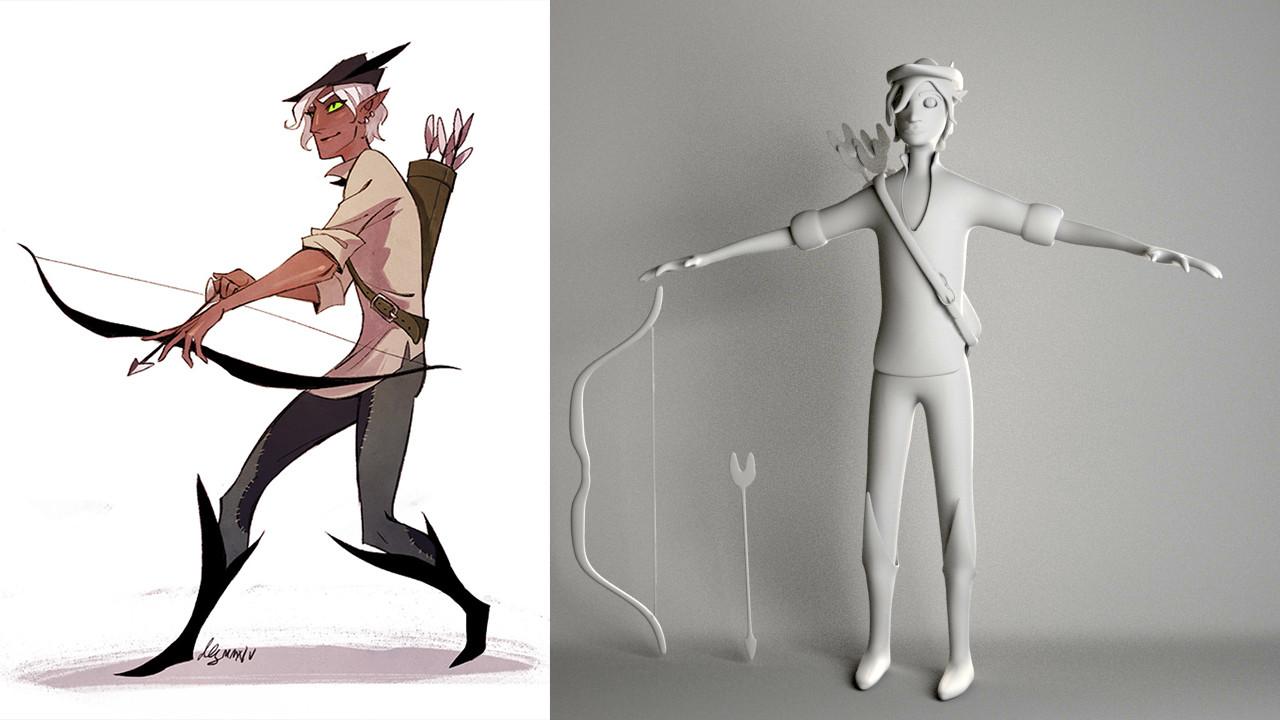 Right: Robin Hood by Dana Rune; Left: Robin Hood 3D Render by Sheryl Zentz (me)