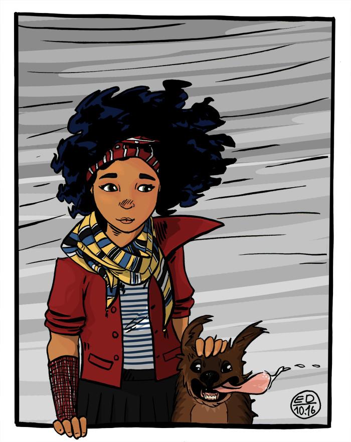 Edouard duhem girl dog wind