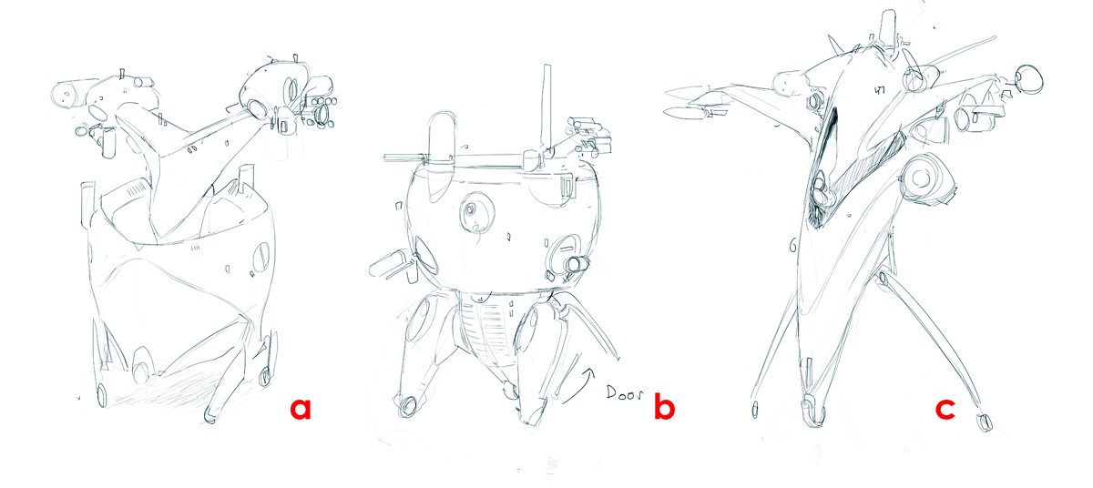 Various initial sketches for the client
