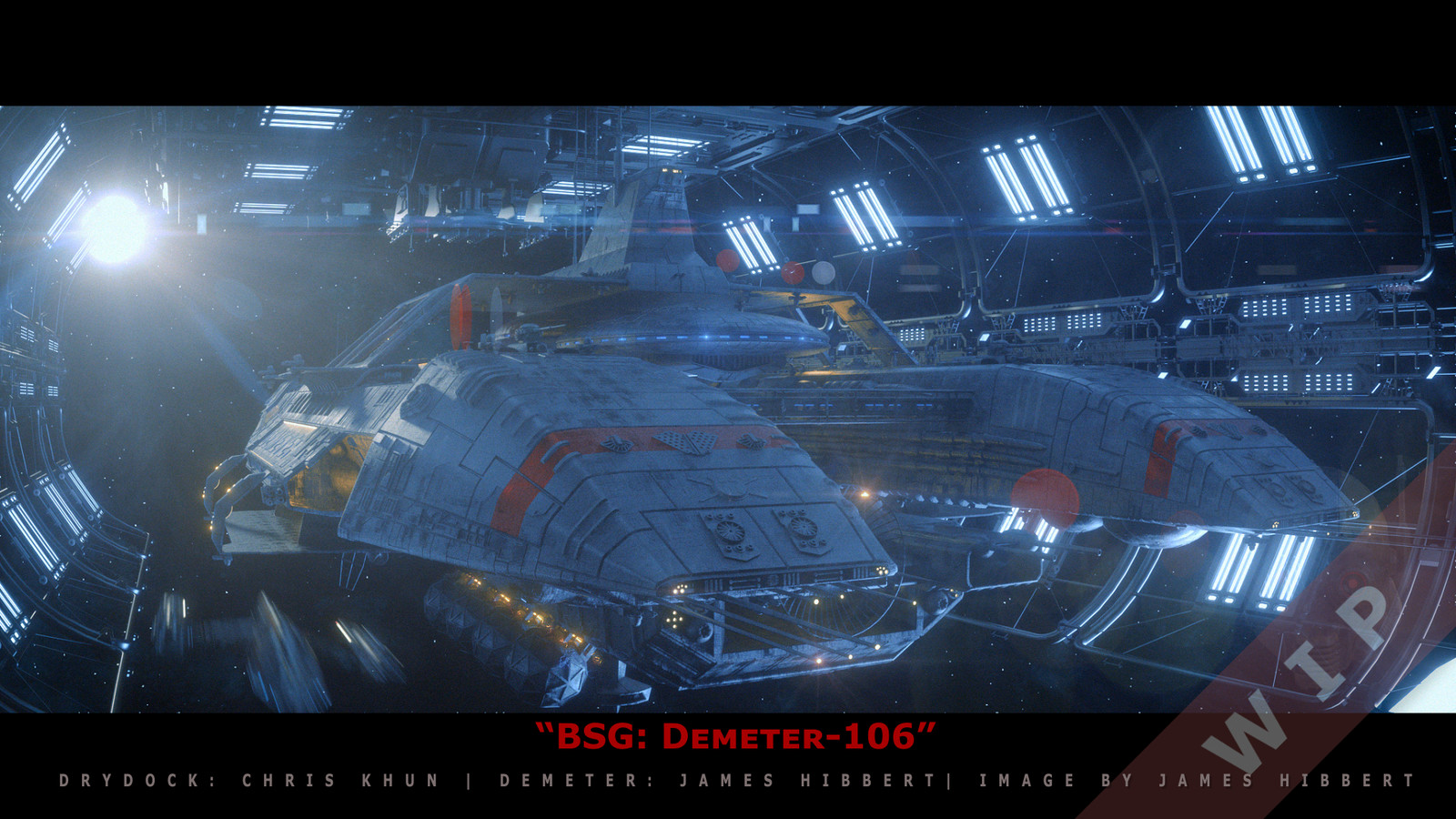 """WIP Render of the """"Demeter"""" a model I worked on for Battlestar Galactica: Blood and Chrome. I am currently converting the Asset to be able to render in Octane."""