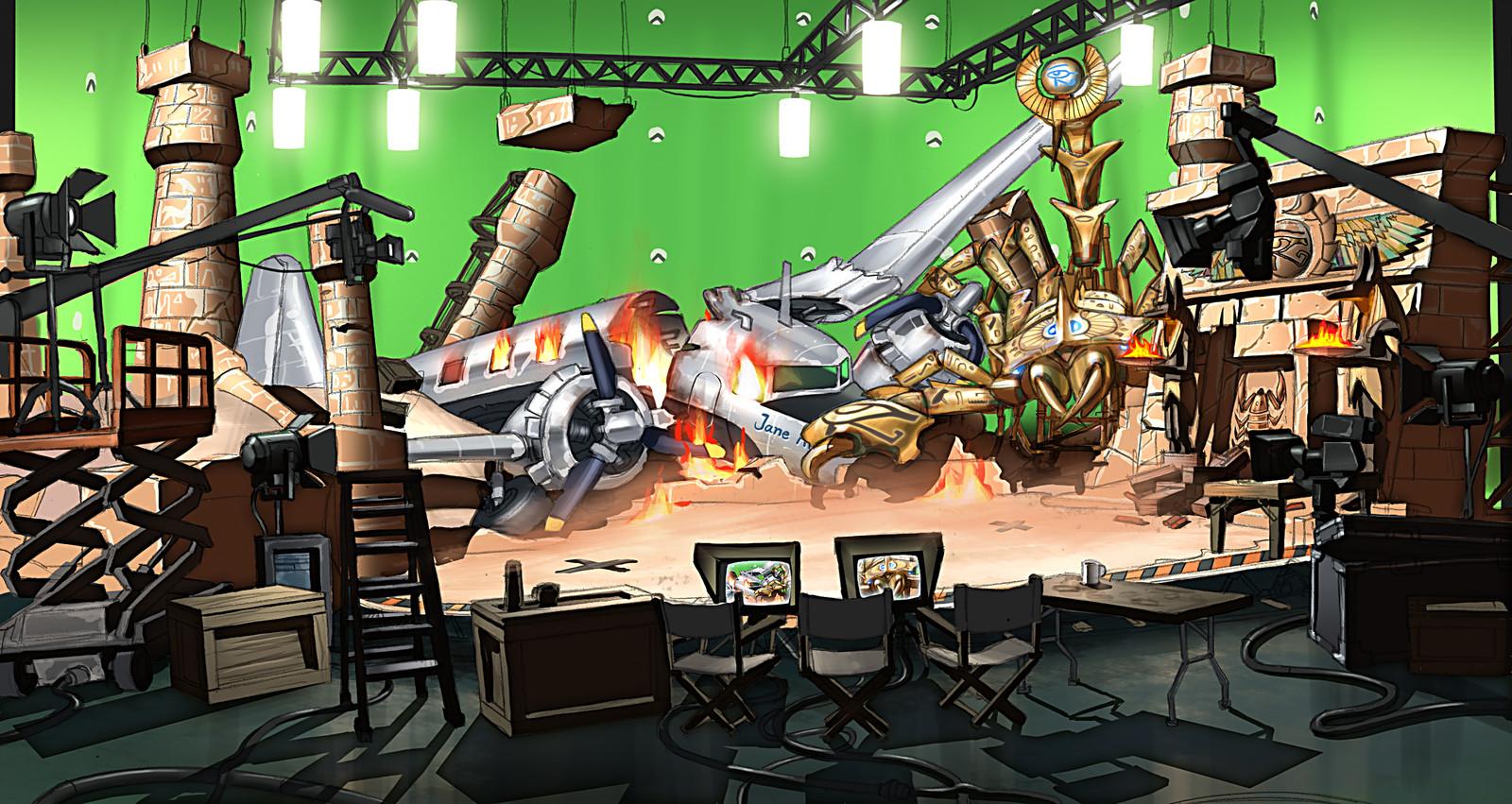 A film set arena, suitably trashed!