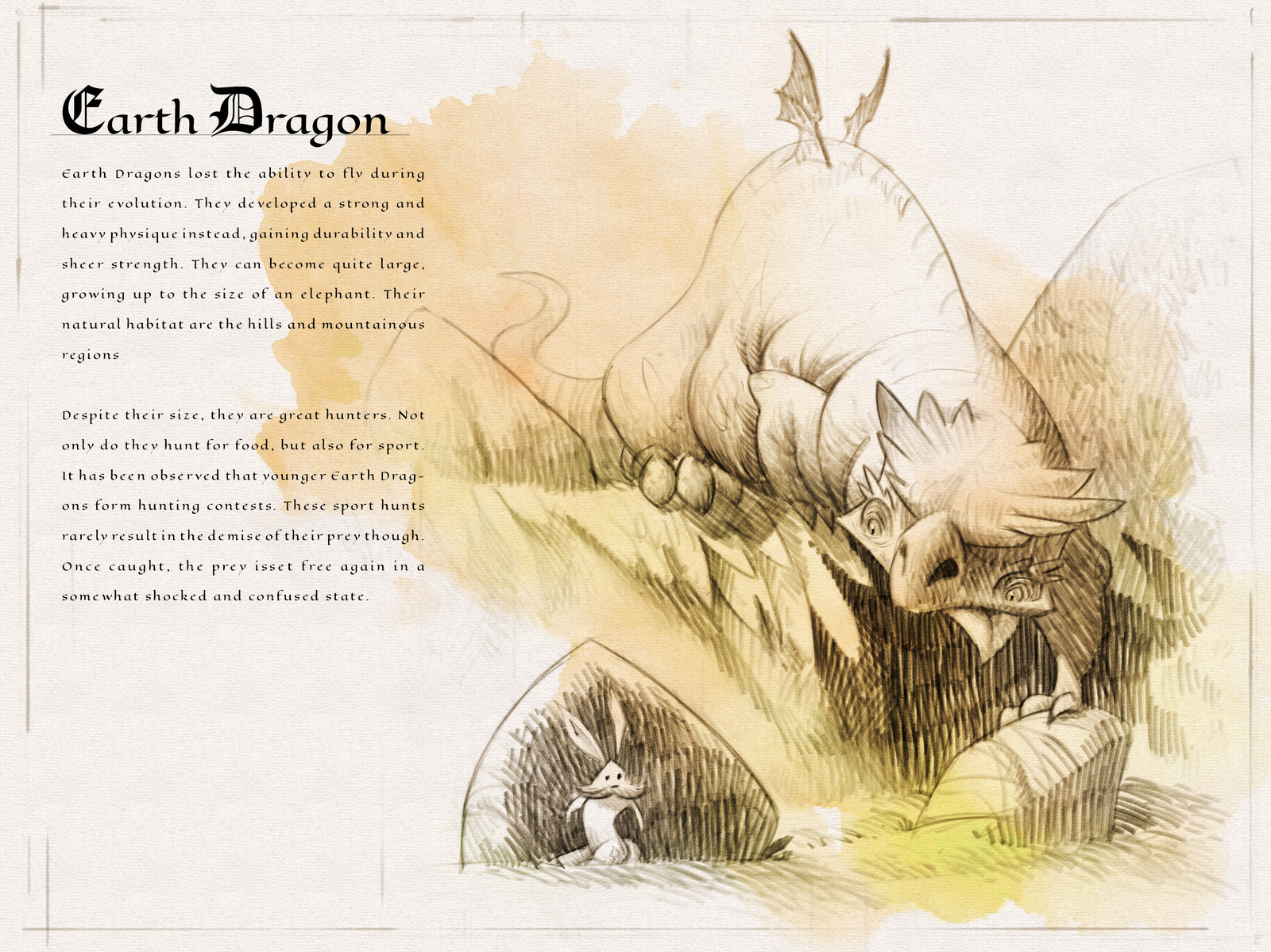 Page one of the  Dragon Compendium showing and describing the Earth Dragon