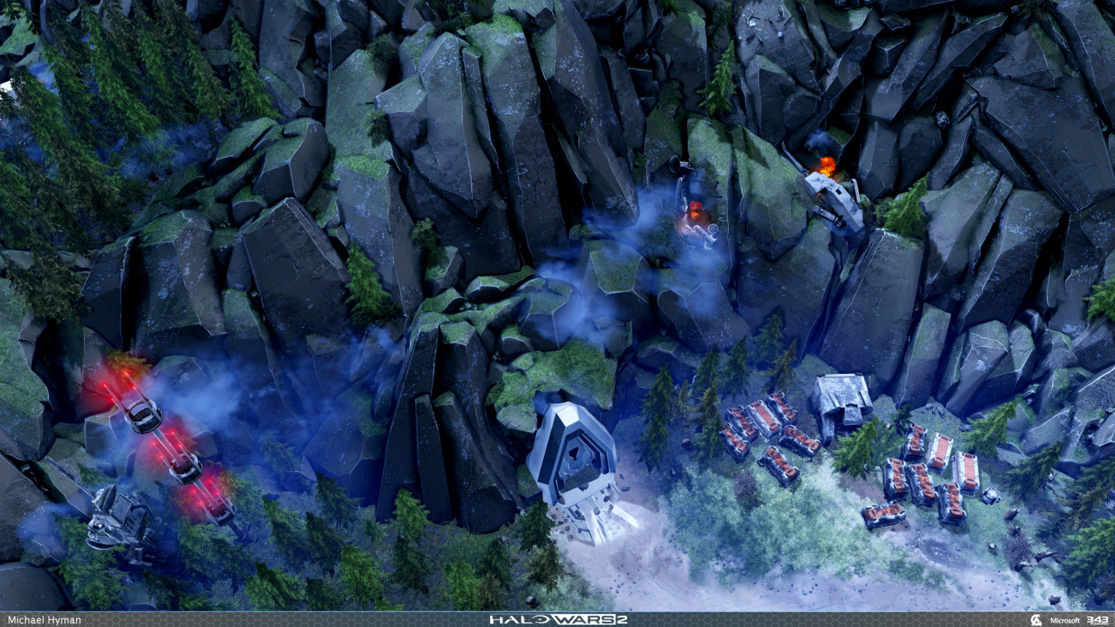 """Some of the halo refugia style rocks in situ during """"The Signal"""" Campaign map. See the sculpts for reference on which rocks I authored."""
