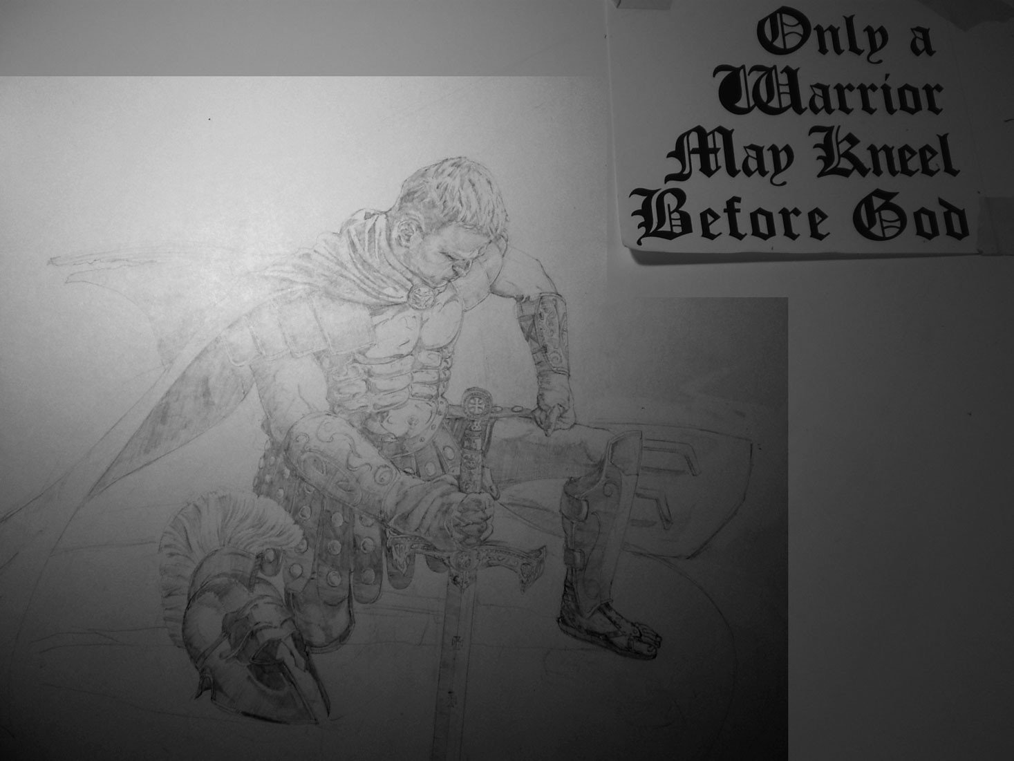 Initial pencil drawing.