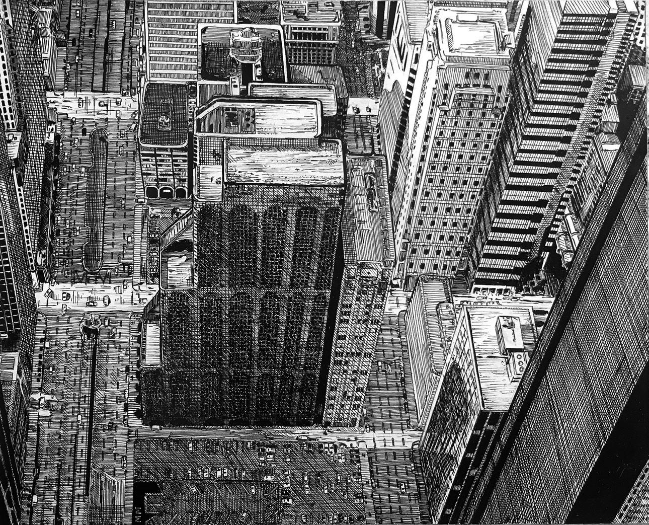 """8"""" x 10"""" pen and ink drawn from a photo I took on the Sears Tower (now Willis Tower) skydeck in Chicago."""